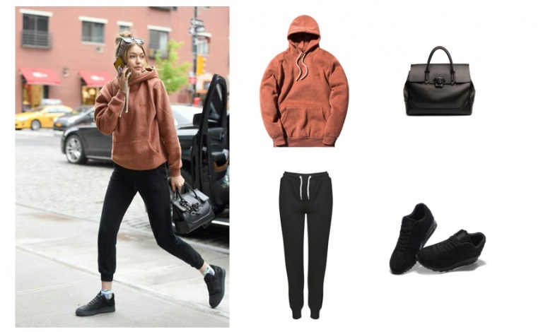 Mix sport shoes with hoodie