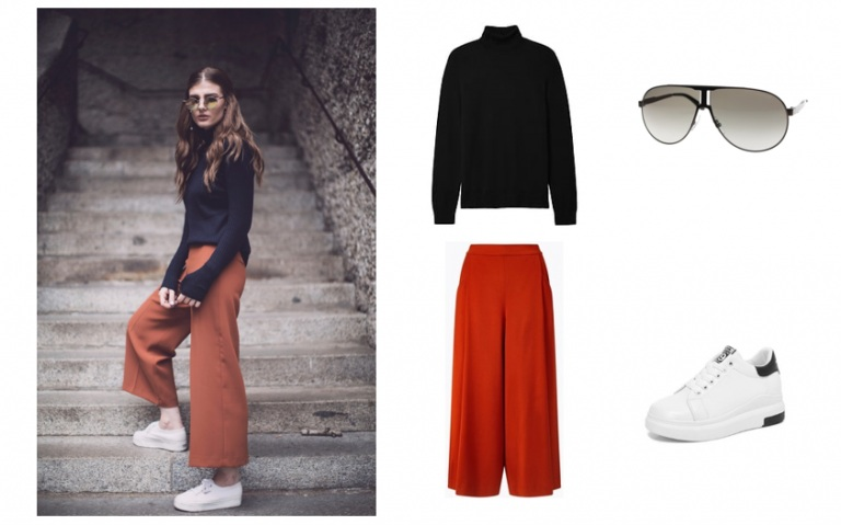 Mix sports shoes with culottes pants