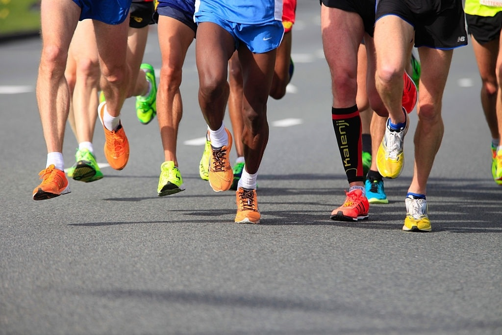 Runners on sport shoes