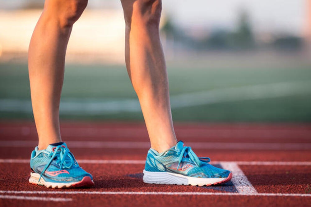 Saucony shoes on track