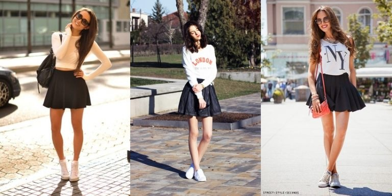 Short skirts with sports shoes